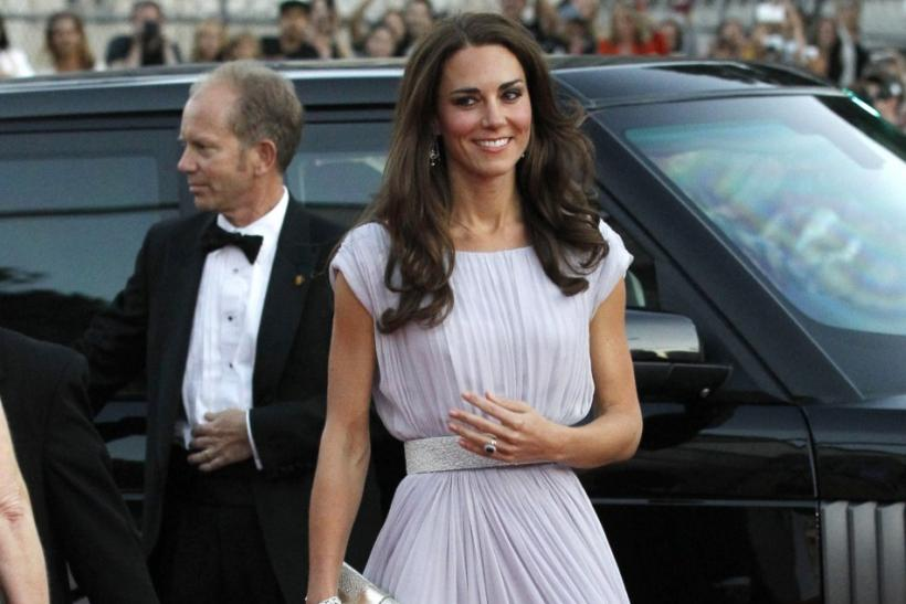 Kate Middleton in Alexander McQueen gown and Jimmy Choo heels