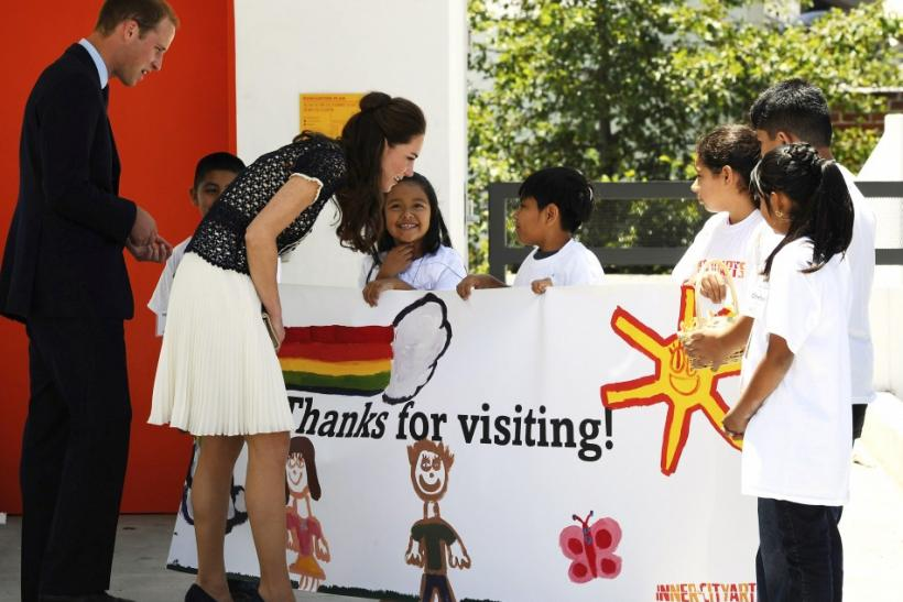 Britain's Prince William and his wife Catherine greet students at the Inner-City Arts campus in Los Angeles California