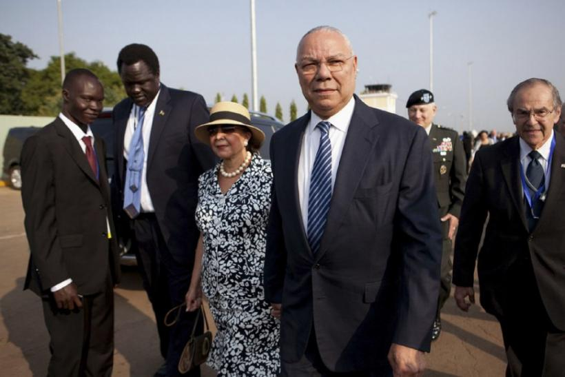 Colin Powell arrives at Juba airport for the Independence Day celebrations