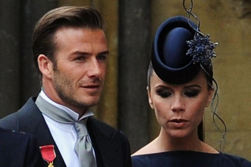 British soccer player David Beckham and his wife Victoria