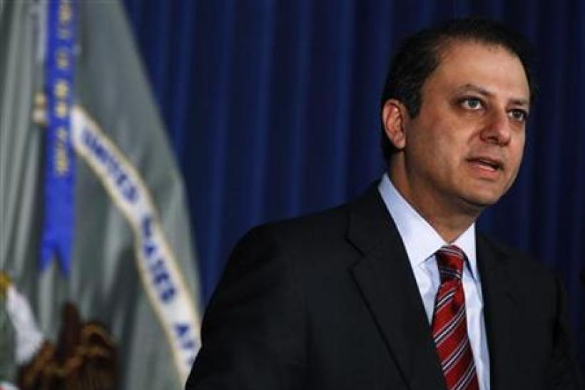 Preet Bharara, the United States Attorney for the Southern District of New York, speaks during a news conference in New York