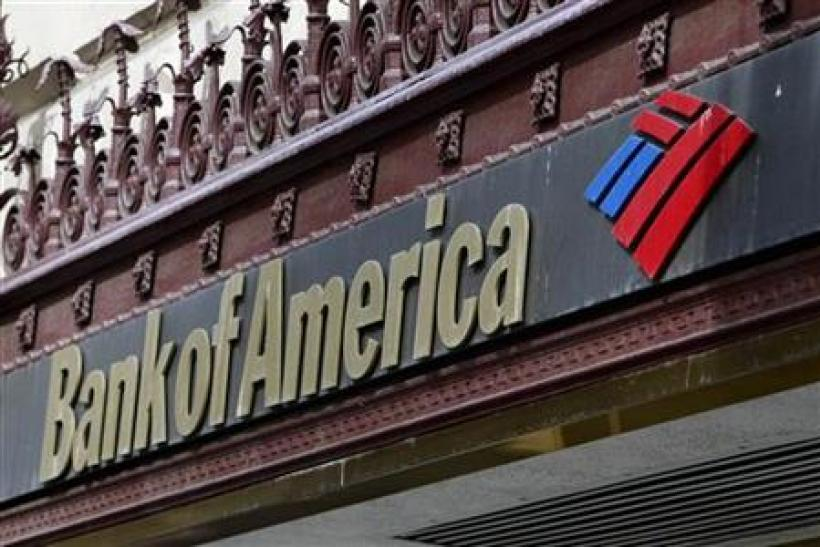 The sign of a Bank of America branch is pictured in downtown Los Angeles