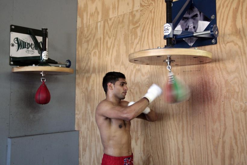 British boxer Khan works out at the Wildcard Boxing Club in Los Angeles