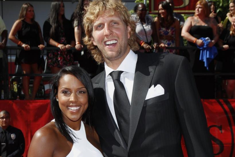 NBA basketball player Dirk Nowitzki of the Dallas Mavericks and his girlfriend Jessica Olsson