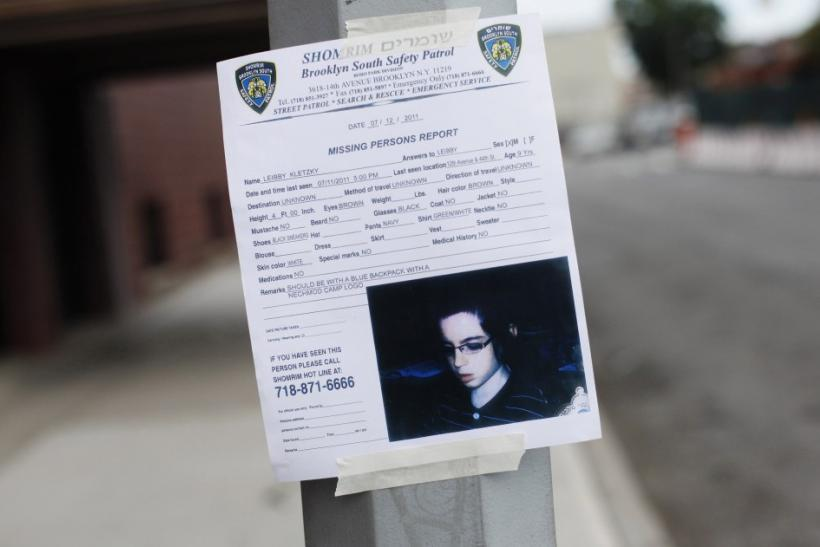A missing person sign for Leiby Kletzky ,8, is seen posted in the Orthodox Jewish section of Borough Park in the Brooklyn borough of New York