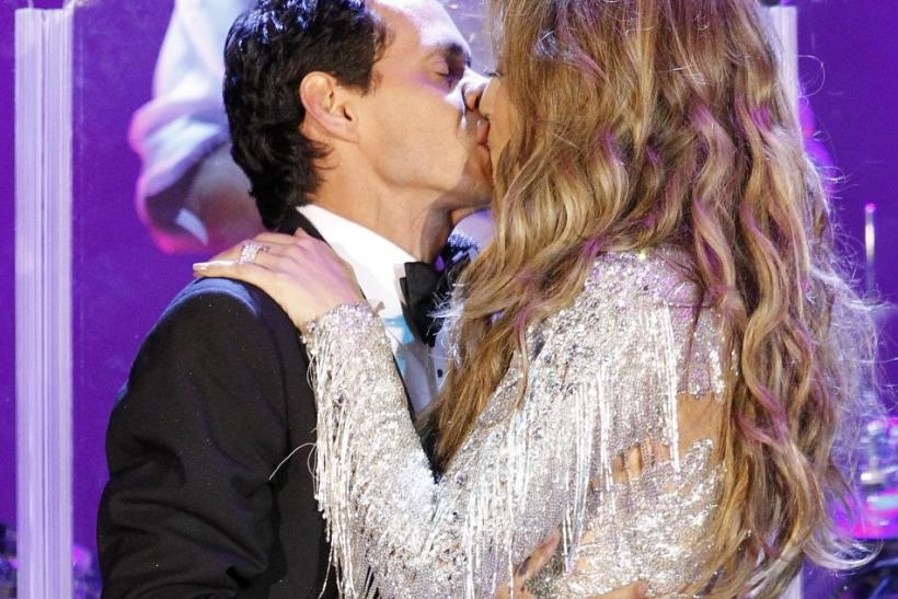 Lopez and her husband Anthony kiss at the conclusion of their performance at the Carousel of Hope Ball in Beverly Hills