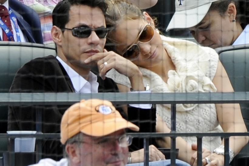 Singers Jennifer Lopez and Marc Anthony watch baseball game between Mets and Rays in New York