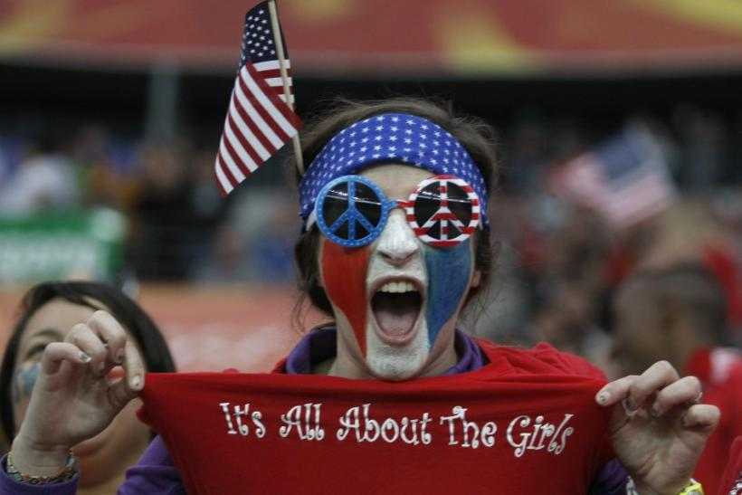A fan of the U.S. cheers before the start of the Women's World Cup final soccer match between Japan and the U.S. in Frankfurt