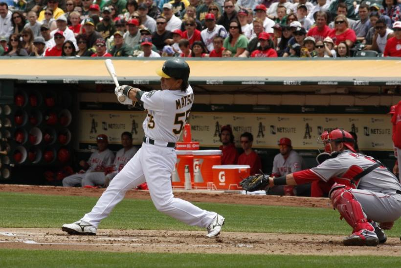 Oakland Athletics' Hideki Matsui grounds out in the first inning against the Los Angeles Angels as he continues his quest for 500 career home runs during the first game of their MLB American League baseball doubleheader in Oakland, California
