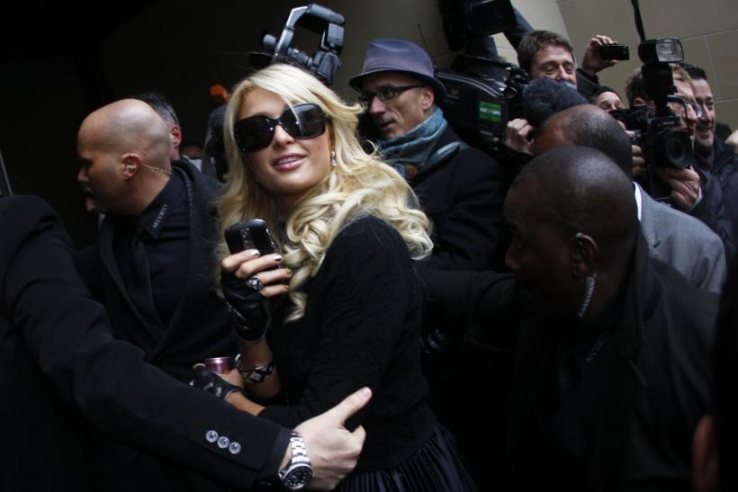 Celebrity socialite Paris Hilton arrives for a news conference at the Frankfurt stock exchange