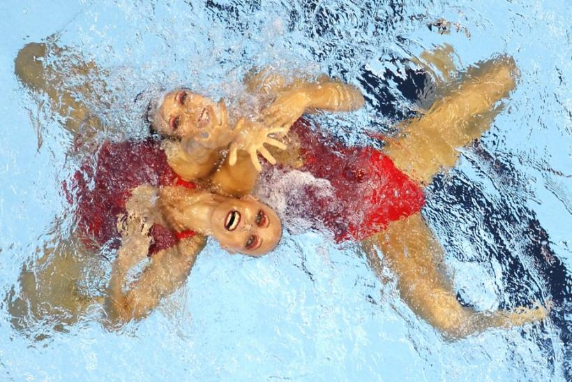 Czech Republic's Sona Bernardova and Alzbeta Dufkova perform in the preliminary round of the synchronised swimming duets free routine at the 14th FINA World Championships in Shanghai