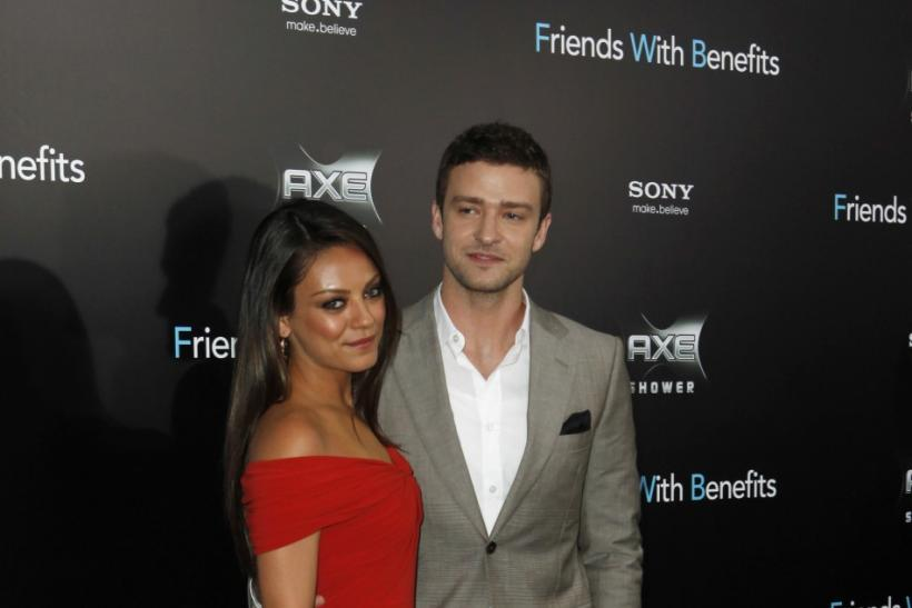 "Cast members Mila Kunis (L) and Justin Timberlake arrive at the premiere for ""Friends With Benefits"" in New York City"