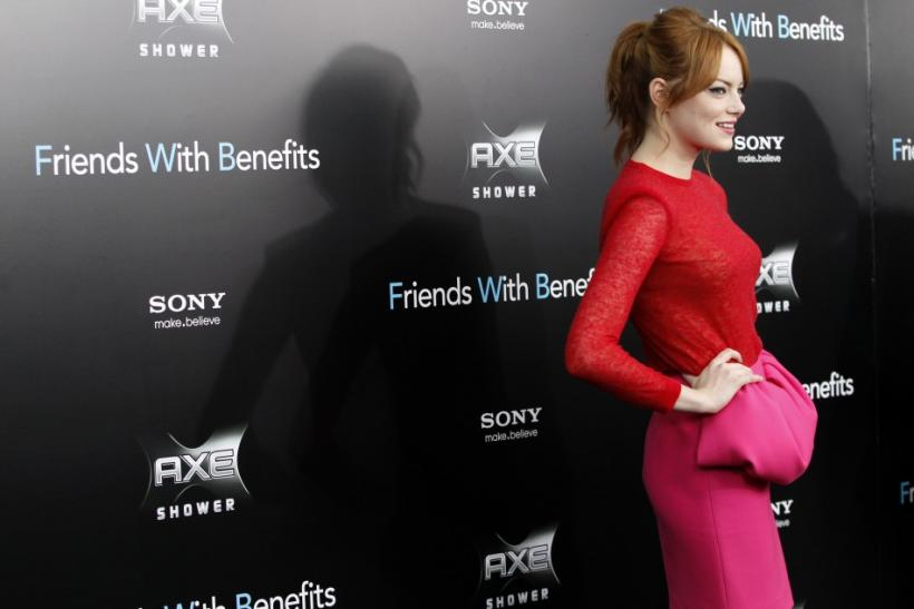 "Cast member Emma Stone poses at the premiere for ""Friends With Benefits"" in New York City"
