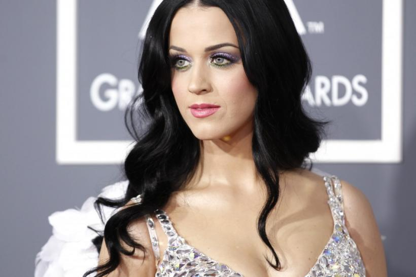 Singer Katy Perry poses on arrival at the 53rd annual Grammy Awards in Los Angeles