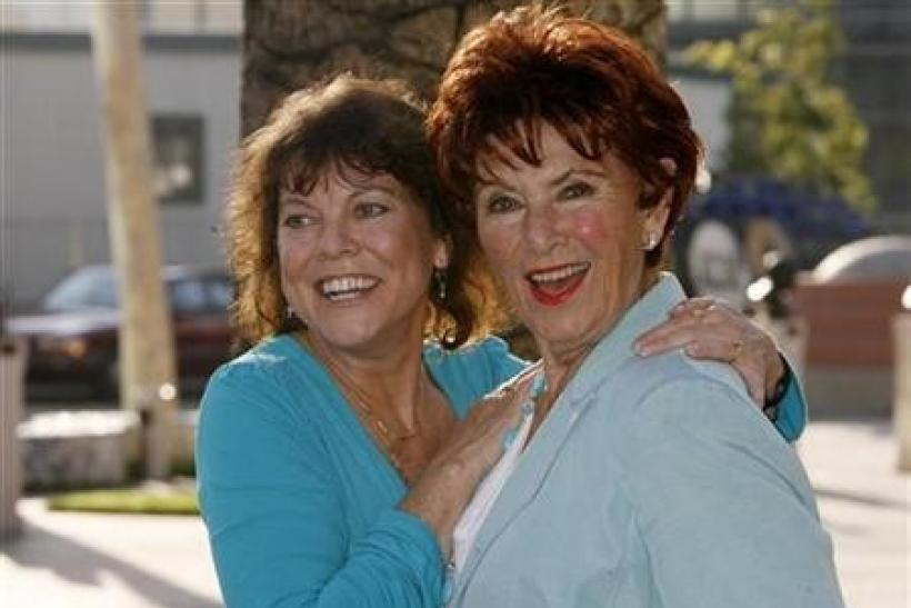Actresses Erin Moran (L) and Marion Ross from ''Happy Days'' arrive at ''A Father's Day Salute to TV Dads'' hosted by the Academy of Television Arts & Sciences in Los Angeles