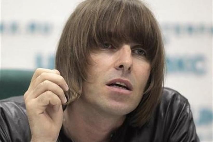 Former Oasis front man Liam Gallagher answers a question during a news conference in Moscow