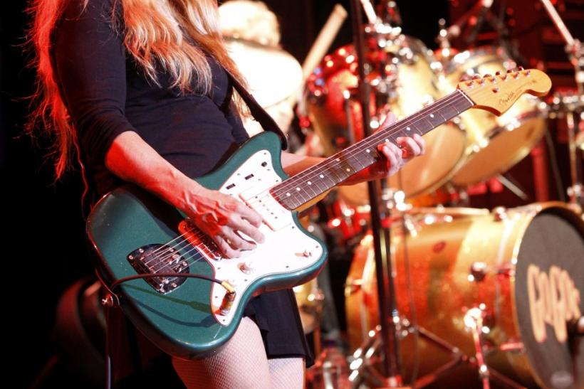 Guitarist Charlotte Caffey of American rock band The Go-Go's performs at the Greek theatre in Los Angeles