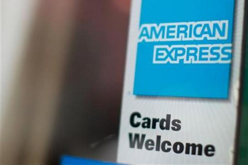 An American Express sign