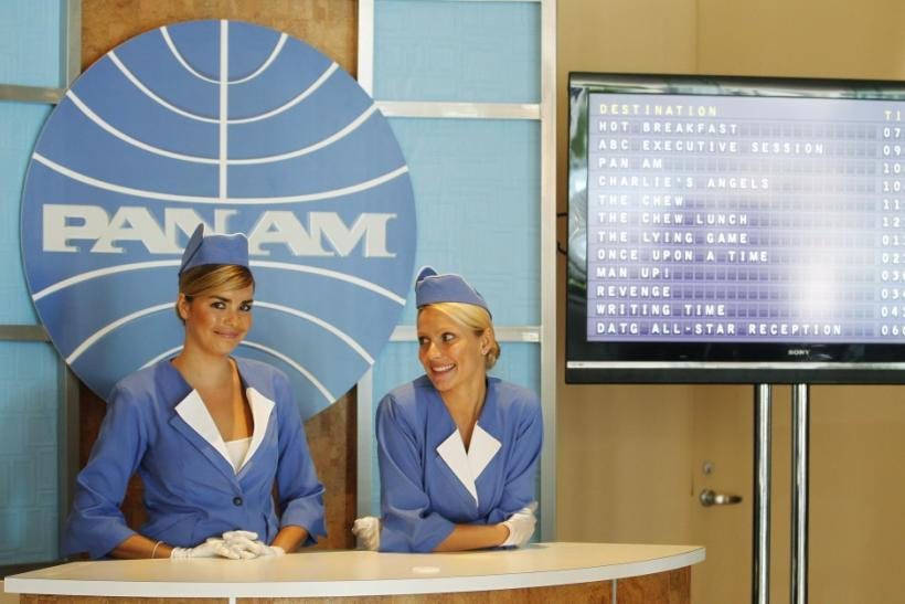 "A booth set up to resemble a Pan Am ticket counter promotes the new TV series ""Pan Am"" at the ABC Summer TCA Press Tour in Beverly Hills"