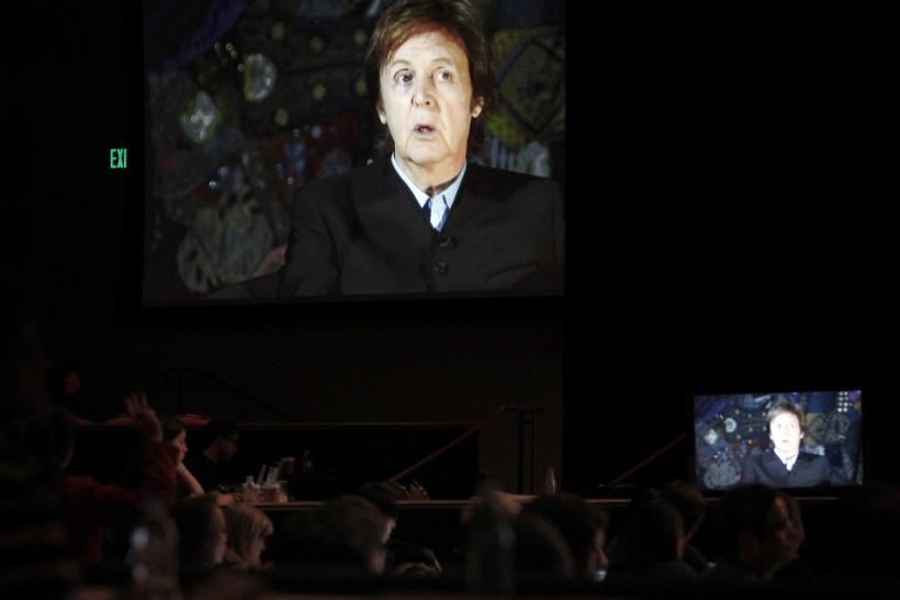 "British singer McCartney answers question via satellite during Showtime session for ""The Love We Make"" during Summer Television Critics Association Cable Press Tour in Beverly Hills"