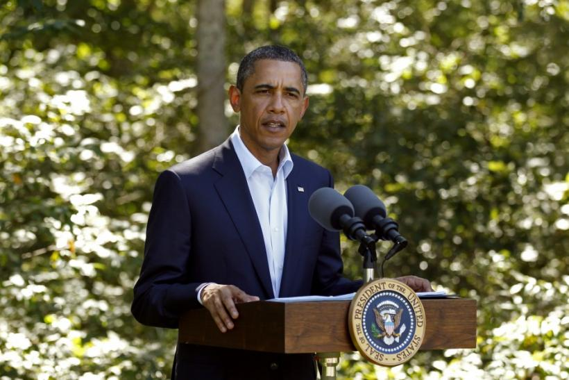 U.S. President Barack Obama delivers a statement on Libya from his vacation on Martha's Vineyard in Massachusetts