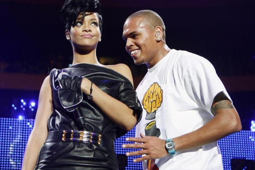 Musicians Chris Brown and Rihanna perform during the Z100 Jingle Ball in New York.