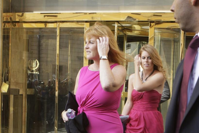 Sarah Ferguson, Britain's Duchess of York, and her daughter Princess Beatrice leave Hassler Hotel in downtown Rome