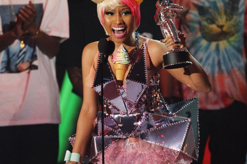 "Singer Nicki Minaj accepts the best hip hop video award for ""Super Bass"" at the 2011 MTV Video Music Awards in Los Angeles"