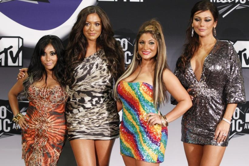 "MTV reality series ""Jersey Shore"" stars Snooki (L-R), Sammi, Deena and JWOww pose at the 2011 MTV Video Music Awards in Los Angeles"