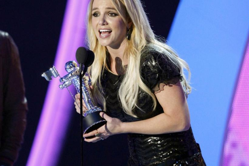 "Britney Spears accepts the best pop video award for ""Till the World Ends"" at the 2011 MTV Video Music Awards in Los Angeles"
