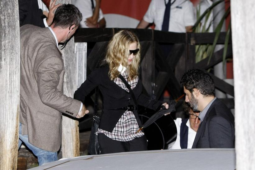 "Madonna, director of movie ""W.E"", arrives at the Venice airport during the 68th Venice Film Festival."