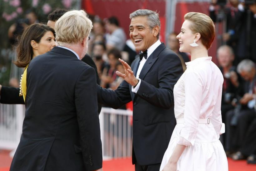 "Actors Clooney, Hoffman Wood arrive on the ""The Ides of March"" red carpet at the 68th Venice Film Festival in Venice"