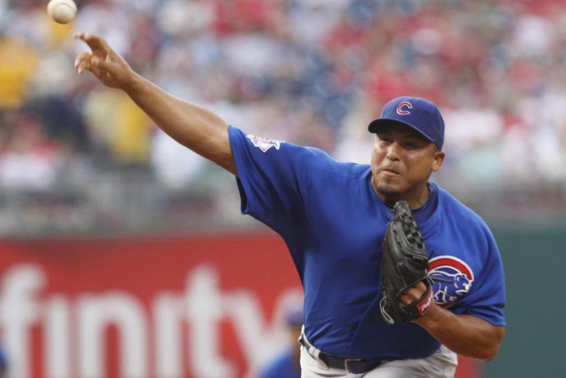Cubs starting pitcher Zambrano delivers a pitch to the Phillies during the first inning of their National League MLB baseball game in Philadelphia Pennsylvania