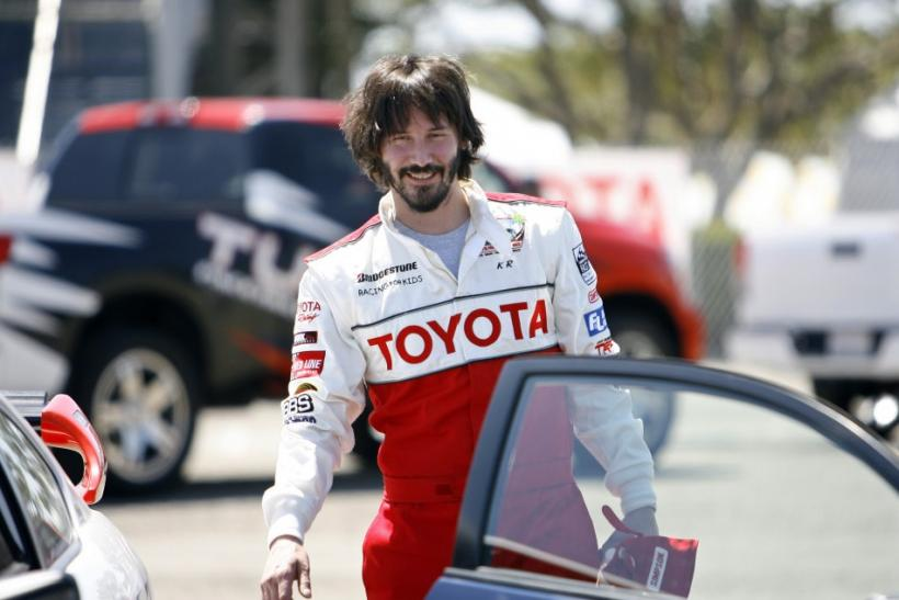 Actor Keanu Reeves attends a press practice day for the 2009 Toyota Pro/Celebrity car race in Long Beach, California