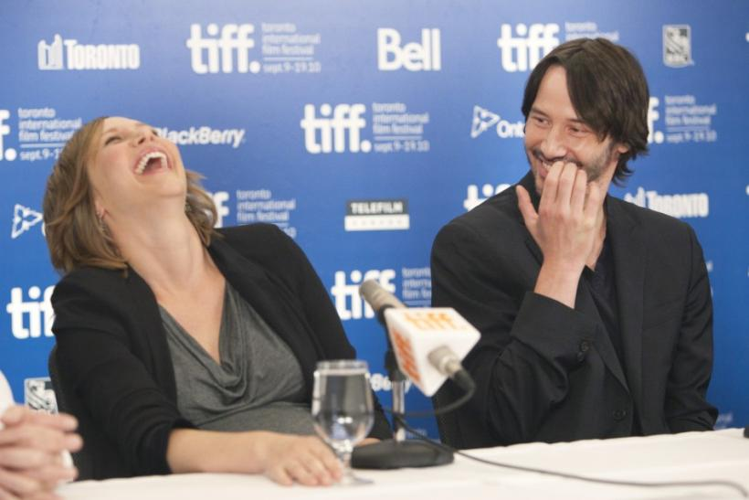 "Actress Vera Farmiga and actor Keanu Reeves attend a news conference to promote the film ""Henry's Crime"" during the 35th Toronto International Film Festival"