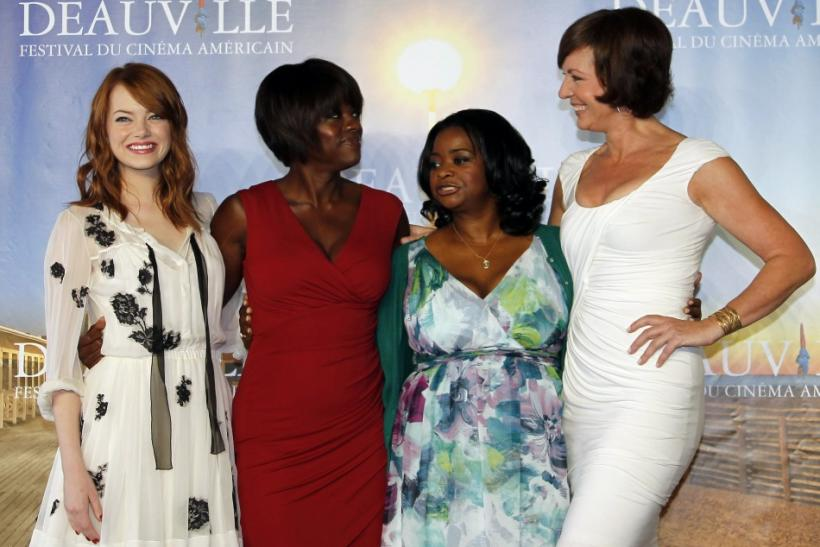 "U.S actresses Stone, Davis, Spencer, and Janney pose during a photocall for their film ""The Help"" at the 37th American Film Festival in Deauville"