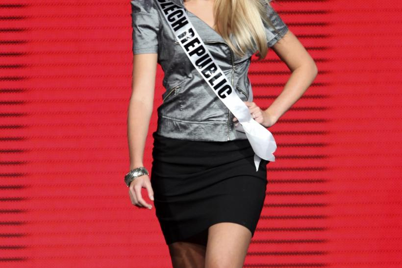 Miss Czech Republic 2011 Jitka Novackova parades in a night club in Sao Paulo