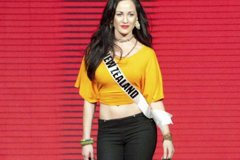 Miss Universe New Zealand 2011 Priyani Puketapu parades during a fashion show at The Week night club in Sao Paulo