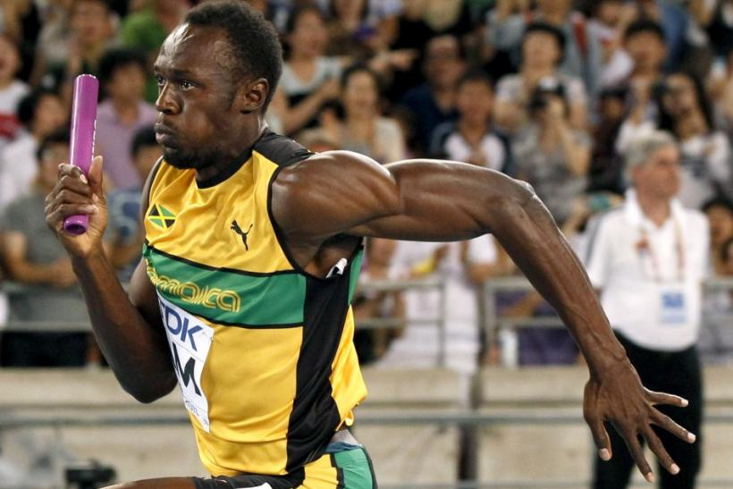 Usain Bolt of Jamaica sprints to the finish line winning the men's 4x100 metres relay final in Daegu