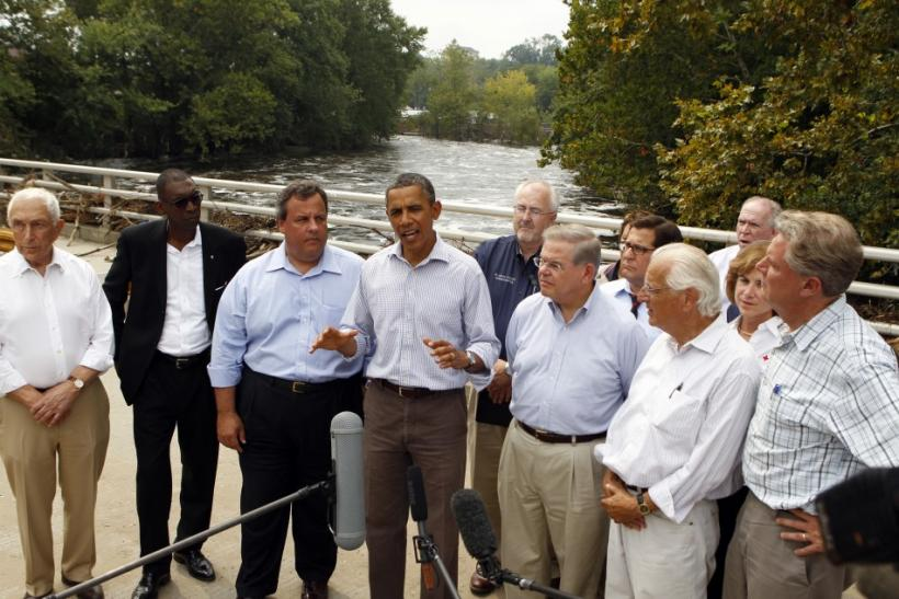 U.S. President Obama speaks as he tours damage caused by rain-swollen Passaic River in aftermath of Hurricane Irene in Paterson, New Jersey