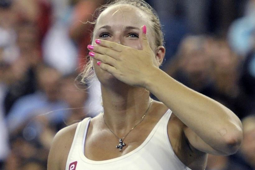 Wozniacki of Denmark blows a kiss to the crowd after defeating Kuznetsova of Russia at U.S. Open in New York