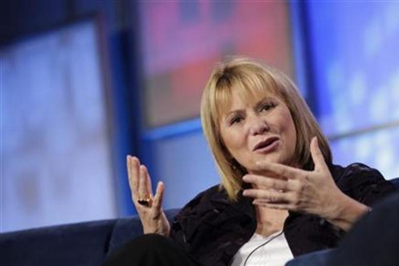Then-Yahoo Chief Executive Carol Bartz gestures during her appearance at the Web 2.0 Summit in San Francisco