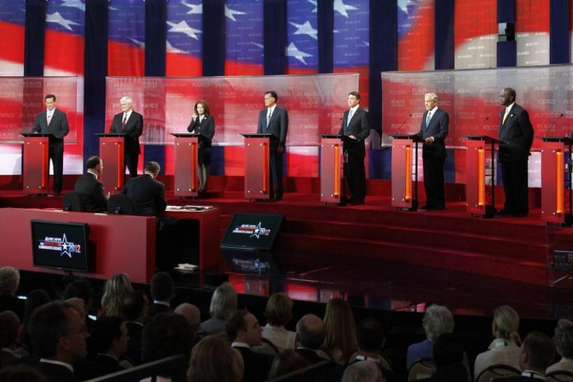 GOP presidential candidates stand on stage at the Reagan Centennial GOP presidential primary debate in Simi Valley