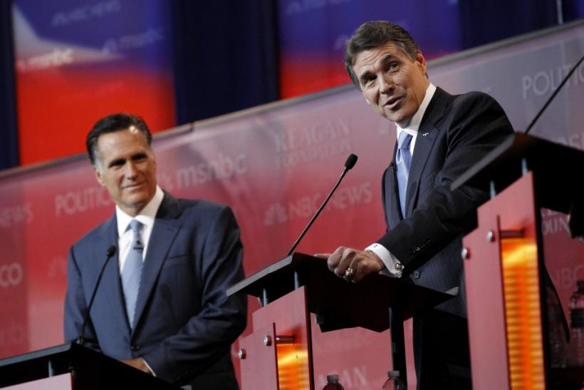 Romney and Perry are shown before the Reagan Centennial GOP presidential primary debate in Simi Valley