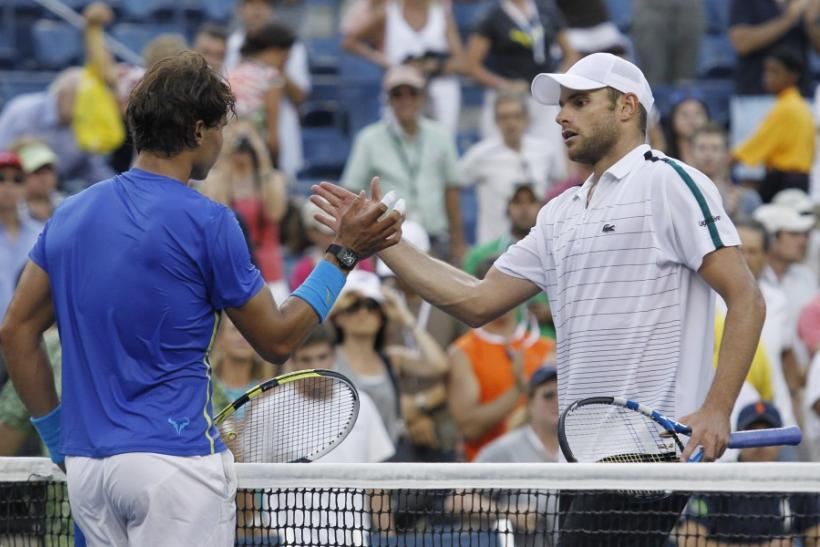 Rafael Nadal of Spain is congratulated by Andy Roddick of the U.S. after Nadal won their match at the U.S. Open tennis tournament in New York