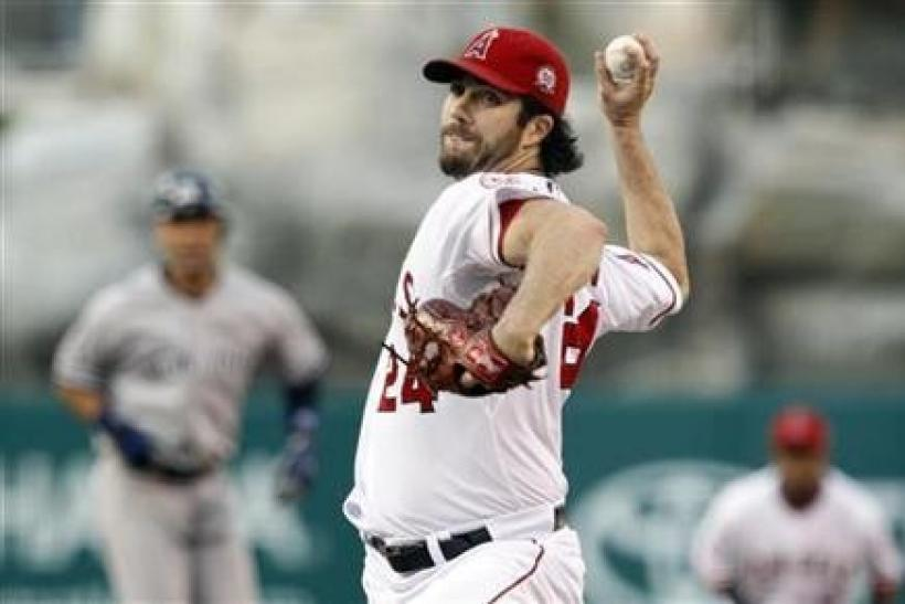 Los Angeles Angels starting pitcher Dan Haren (24) works against the New York Yankees during the first inning of their MLB American League baseball game in Anaheim, California