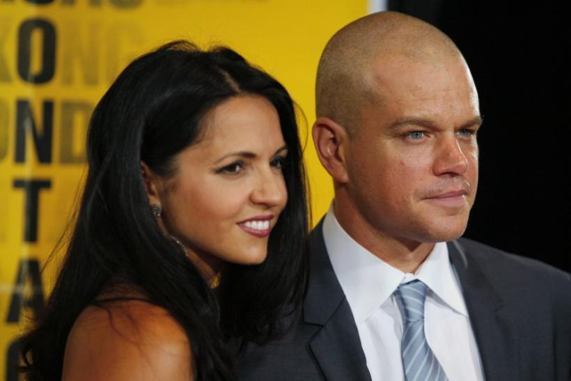 """Matt Damon and his wife arrive at the premiere of """"Contagion"""" in New York City"""