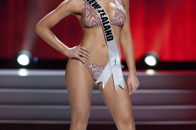 Miss Universe New Zealand 2011 Priyani Puketapu wears a swimsuit during a presentation show at the Credicard Hall in Sao Paulo