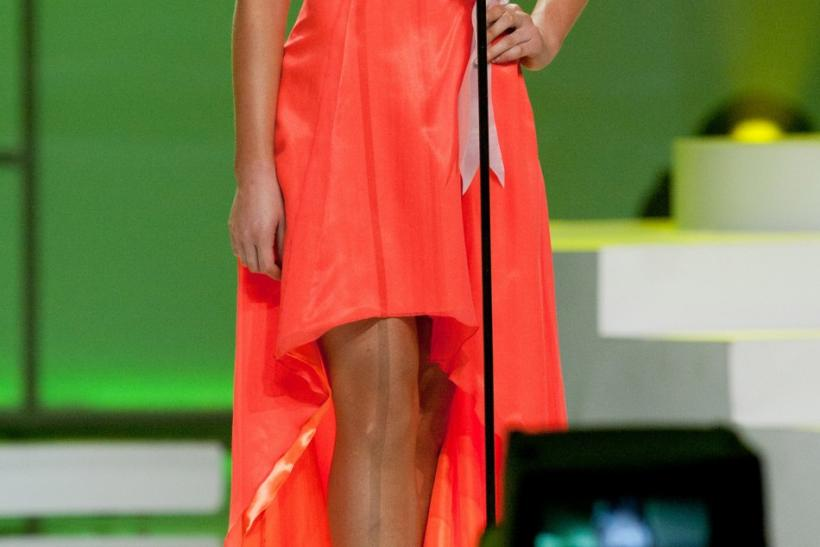 Miss Universe New Zealand 2011 Priyani Puketapu introduces herself during a presentation show in Sao Paulo