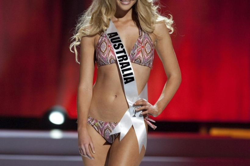 Miss Universe Australia 2011 Scherri-Lee Biggs wears a swimsuit during a presentation show at the Credicard Hall in Sao Paulo